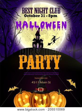 Halloween party flyer with pumpkins, hat, bats witch and house vector