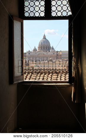 The dome of Saint Peter's as seen from Castel Sant'Angelo.