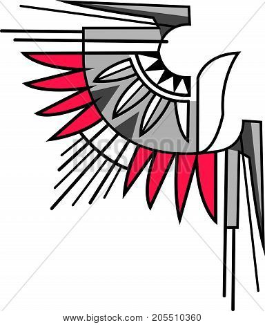 Vector illustration or drawing of an abstract eagle symbol in indigenous style