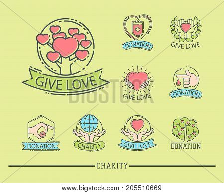 Donate money set log ooutline icons help icon donation contribution charity philanthropy symbols humanity support vector. Contribute design sign give money contribution giving.
