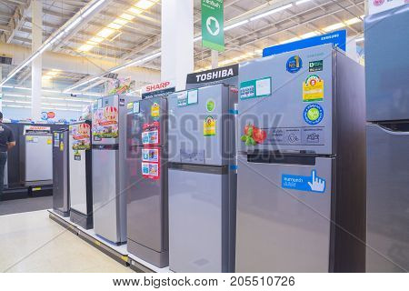 Bangkok Thailand - August 13 2017: Row of Refrigerator Display in Hypermarket store. Thailand is one of the leading Manufacturer of refrigerator in the Asian region.