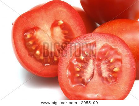 Closeup Of Sliced Red Tomatoes