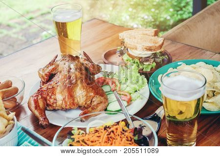 Beer Party And Grilled Chicken Happy Enjoying In Home