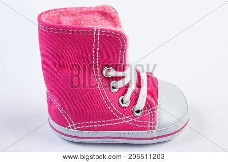 Shoe For Newborn On White Background, Expecting For Baby Concept