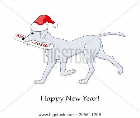 New year card with cartoon drawn dog bringing a newspaper with number 2018 with santa hat. Symbol year 2018 of dog. Isolated on the white background. eps 10
