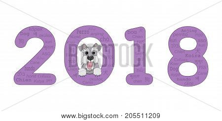 Digits 2018 with funny cartoon schnauzer look out from number 2018. Isolated on the white background. eps 10