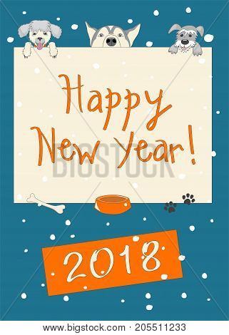 Kids new year 2018 card with funny three cartoon dogs and text Happy New Year and number 2018 on the dark blue background with snow. eps 10