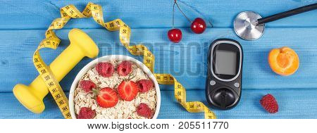 Glucose Meter, Oat Flakes With Fruits, Dumbbells And Centimeter, Concept Of Diabetes, Slimming And H