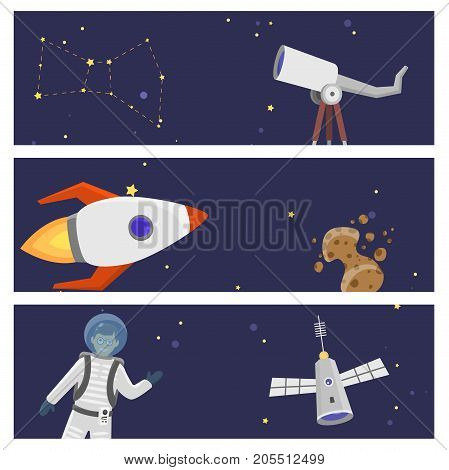 Astronaut in space landing different card design future exploration space ship cosmonaut rocket shuttle vector illustration. Galaxy atmosphere system fantasy nature spacecraft.