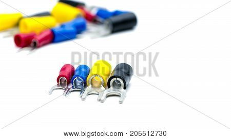 Select focus on spade terminals electrical cable connector accessories isolated on blur background
