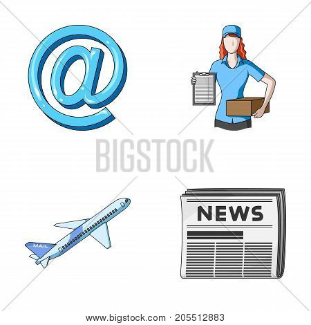 Email symbol, courier with parcel, postal airplane, pack of newspapers.Mail and postman set collection icons in cartoon style vector symbol stock illustration .