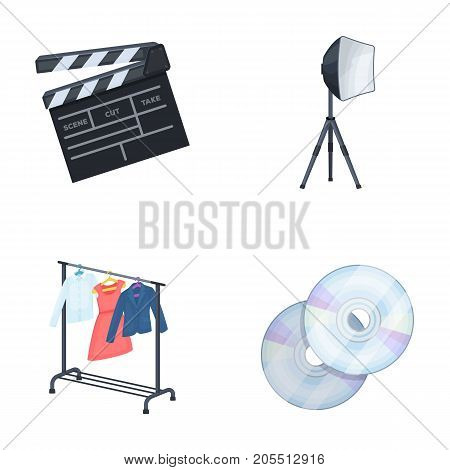 Movies, discs and other equipment for the cinema. Making movies set collection icons in cartoon style vector symbol stock illustration .