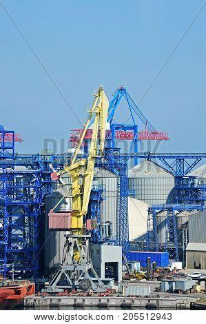 Cargo Crane And Grain Silo