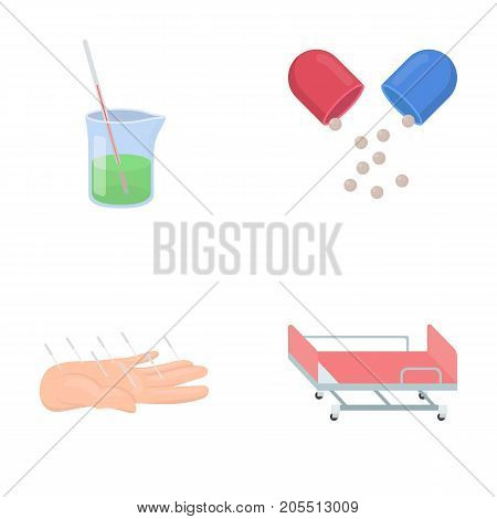 Solution, tablet, acupuncture, hospital gurney.Medicine set collection icons in cartoon style vector symbol stock illustration .