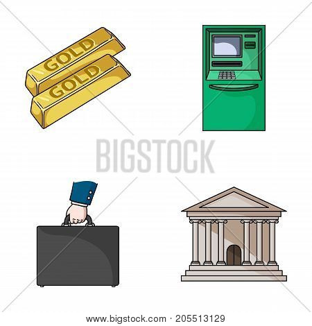 Gold bars, ATM, bank building, a case with money. Money and finance set collection icons in cartoon style vector symbol stock illustration web.