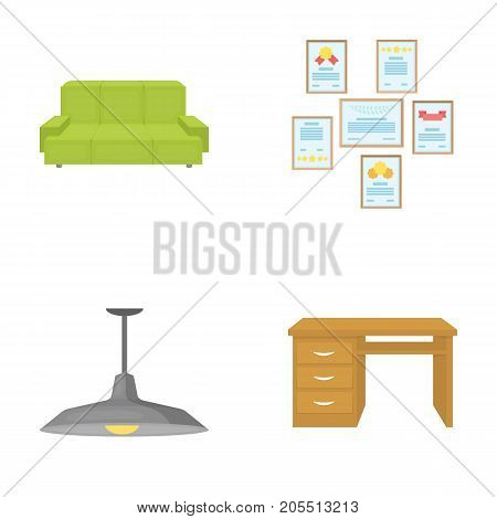 Comfortable sofa, letters and diplomas within the framework, an office ceiling lamp, a desk with drawers. Office Furniture set collection icons in cartoon style vector symbol stock illustration .
