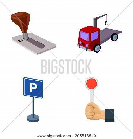 Transmission handle, tow truck, parking sign, stop signal. Parking zone set collection icons in cartoon style vector symbol stock illustration .
