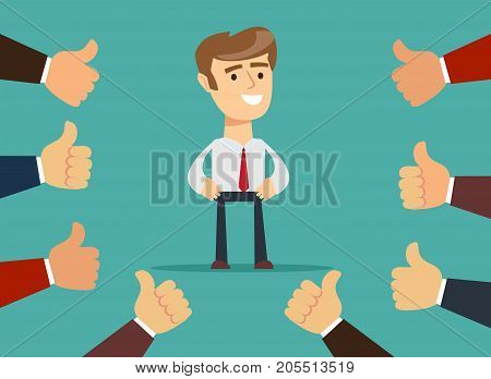 Happy and proud businessman with many thumbs up hands around him. Business compliment concept. Vector illustration