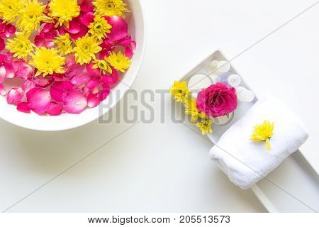 Spa Thai setting for aroma therapy with flower on the bed relax and healthy care. Healthy Concept