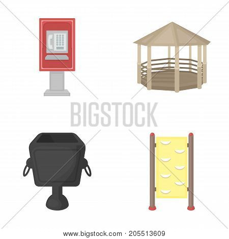 Telephone automatic, gazebo, garbage can, wall for children. Park set collection icons in cartoon style vector symbol stock illustration .