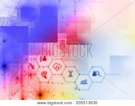 Fintech Icon  On Abstract Financial Technology Background .