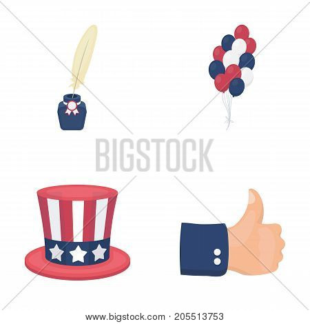Balloons, inkwell with a pen, Uncle Sam's hat. The patriot's day set collection icons in cartoon style vector symbol stock illustration .