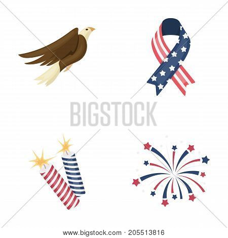 American eagle, ribbon, salute. The patriot's day set collection icons in cartoon style vector symbol stock illustration .