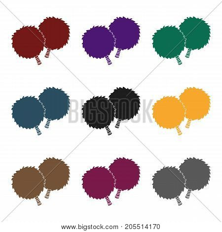 Attribute for the support group.Fans single icon in black  vector symbol stock illustration.