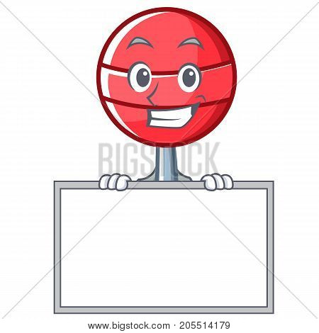 Grinning board sweet lollipop character cartoon vector illustration