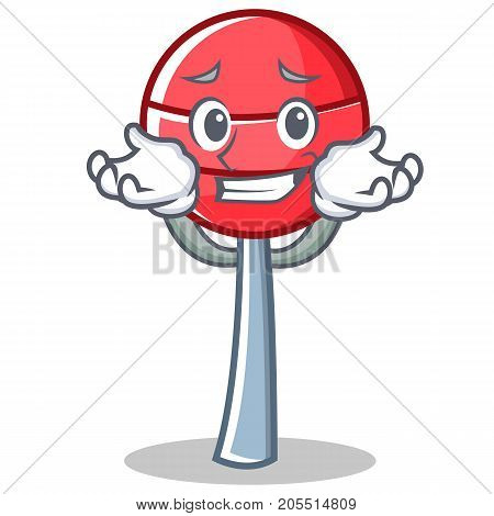 Grinning sweet lollipop character cartoon vector illustration