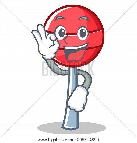 Okay sweet lollipop character cartoon vector illustration