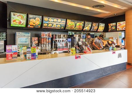 BANGKOK, THAILAND - AUGUST 27, 2017: counter service in a McDonald's restaurant at bangkok. McDonald's is an American hamburger and fast food restaurant chain.