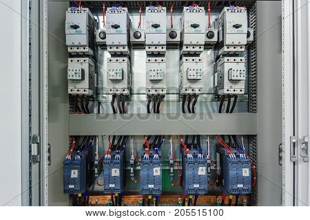 Wiring PLC Control panel with wires in cabinet for machine industrial factory