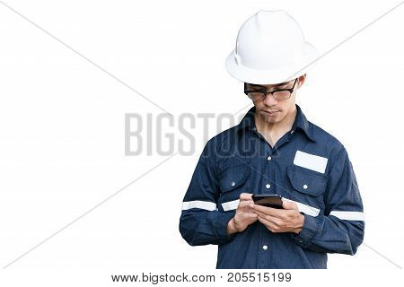 Asian manEngineer or Technician in white helmet glasses and blue working shirt suit holding smart phone isolated on white mechanic and Oil and Gas industrial concept with clipping path.