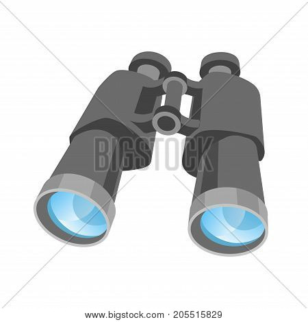 Classic binoculars with clear lenses isolated cartoon flat vector illustration on white background. Powerful optical tool in grey plastic corpus to watch objects and locations on long distance.