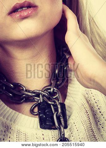 Woman Having Metal Chain Around Neck