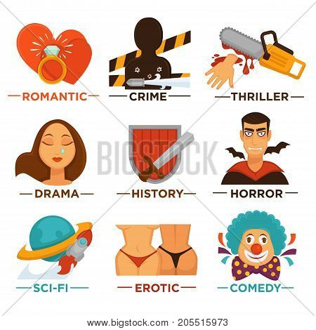 Movie genre icons of romantic drama, crime or horror thriller and erotic comedy, sci-fi and history. Vector flat isolated symbols set for cinema or channel movie genre tag