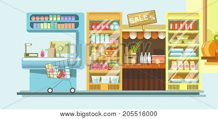 Supermarket department with dairy products in capacious powerful refrigerators, wooden sale sign board, counter with boxes, metal trolley full of purchases and cash machine vector illustration.