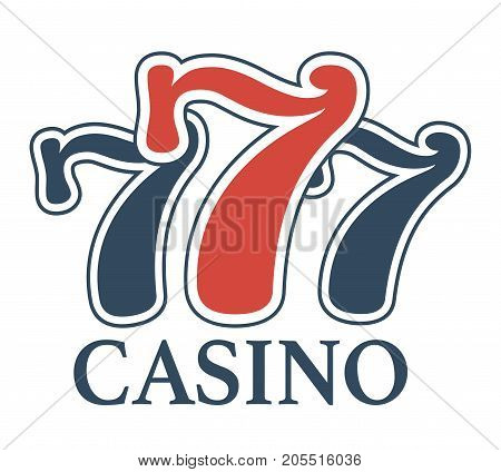 Luxury casino 777 minimalistic promotional emblem isolated cartoon flat vector illustration on white background. Convenient place for gambling logotype with lucky number of blue and red colors.