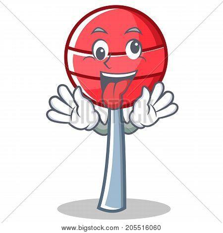 Crazy sweet lollipop character cartoon vector illustration
