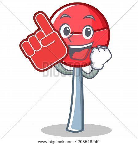 Foam finger sweet lollipop character cartoon vector illustration