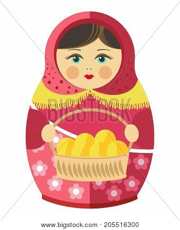 Russian matryoshka with young beautiful face in kerchief and long dress with flower pattern holds fresh patties in wicker basket isolated cartoon flat vector illustration on white background.