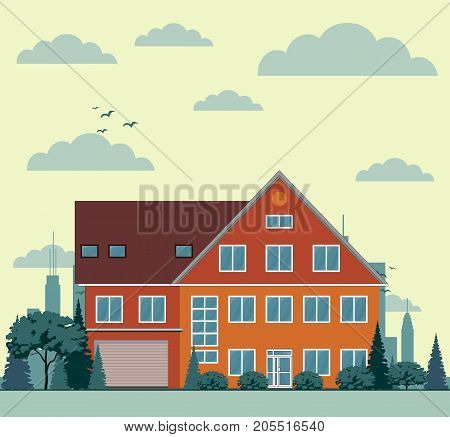 Suburban house, cottage with garden on background. Real estate, property concept. Family home, cabin. Residential building. Exterior front view. Vector illustration. Flat style design poster