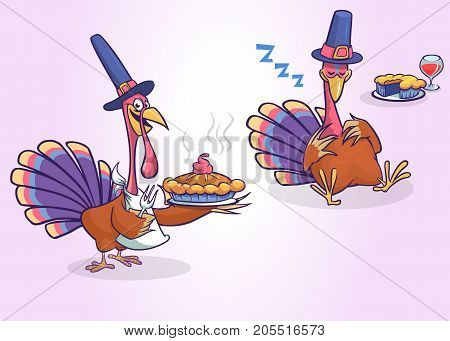 Cartoon set of two turkeys isolated. Vector turkey serving a meal with pie and sleeping