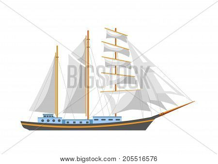 Huge sailboat with shiny fairy canvas and spacious deck with cabins isolated cartoon flat vector illustration on white background. Vintage seagoing vessel for long voyages around world ocean.