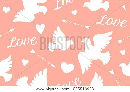 Seamless pattern with white love doves, hearts, arrows and text Love. Symbol and sign of Love on pink background. Graphic design wrapping paper for Valentine Day. Vector Illustration