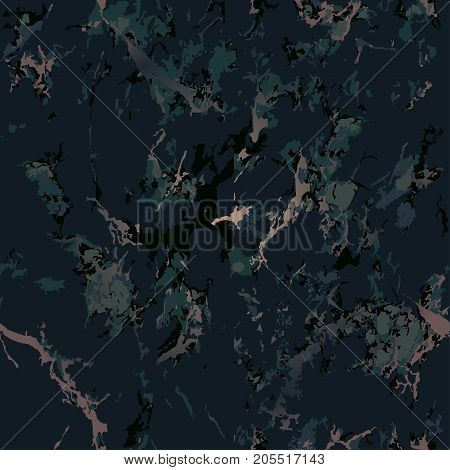 Green marble texture background with gold. Patina effect. Seamless pattern. Overlay distress grain. Deep marsh color. Holiday background. Dark color. Vector. EPS10.