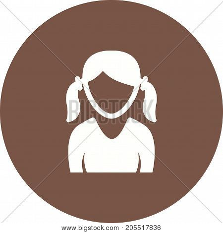 Girl, ponytails, teenage icon vector image. Can also be used for Avatars. Suitable for use on web apps, mobile apps and print media.