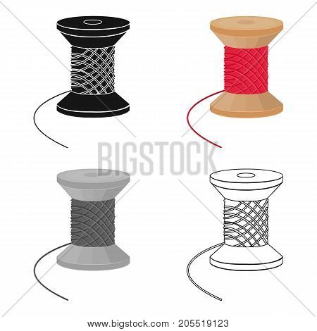 The wooden coil of thread for sewing. Sewing and equipment single icon in cartoon style vector symbol stock illustration .
