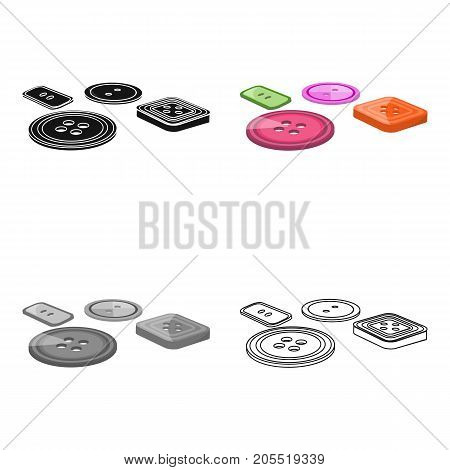 Multicolored buttons for sewing. Sewing and equipment single icon in cartoon style vector symbol stock illustration .